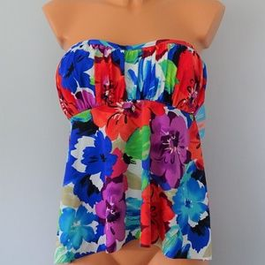 60260e06aebbf Swim Solutions Floral Shirred Bandeau Tankini Top